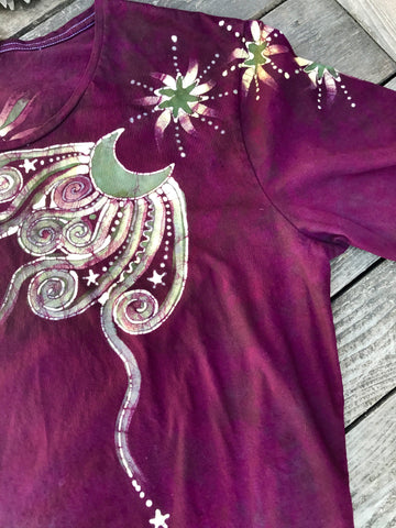 Burgundy Sage Moonbeams Handmade Batik Scoop Neck Tee