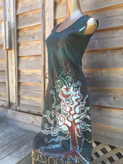 Forest Green Organic Cotton Batik Dress - Slight Imperfection - Batikwalla   - 3