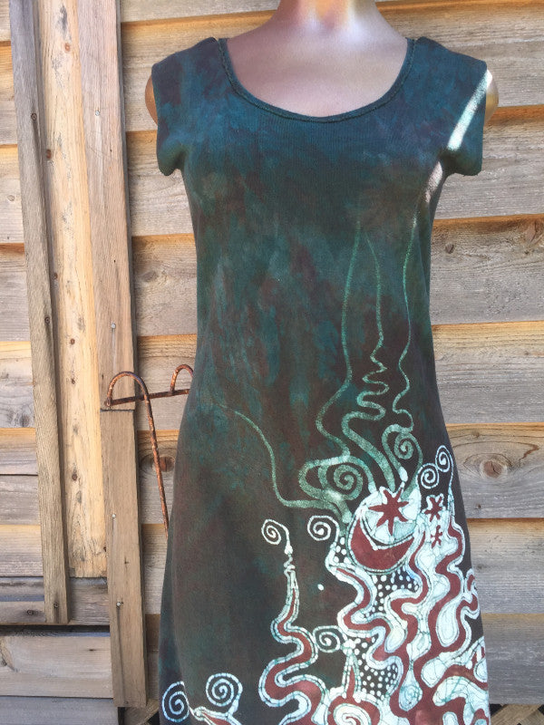 Forest Green Organic Cotton Batik Dress - Slight Imperfection - Batikwalla   - 1