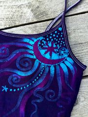 Deep Blue and Purple Stretchy Moon Batik Camisole - Batikwalla   - 1