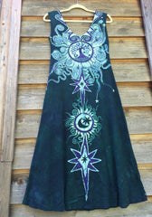 Tribal Tree in Teal and Purple Organic Cotton Batik Dress - Midi Length - Batikwalla   - 6