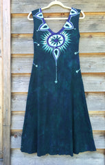 Tribal Tree in Teal and Purple Organic Cotton Batik Dress - Midi Length - Batikwalla   - 7