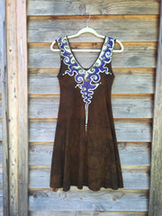 Gold and Purple Lava Rock Handmade Organic Cotton Batik Dress - Size Small - Batikwalla   - 7