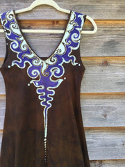 Gold and Purple Lava Rock Handmade Organic Cotton Batik Dress - Size Small - Batikwalla   - 6