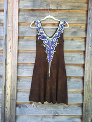 Gold and Purple Lava Rock Handmade Organic Cotton Batik Dress - Size Small - Batikwalla   - 8