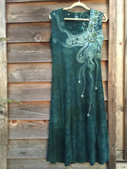 Sage Under the Moonlight Handmade Batik Dress - Batikwalla   - 6