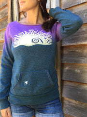 Teal Rising Eco Fleece Top - Batikwalla   - 1