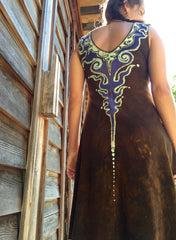 Gold and Purple Lava Rock Handmade Organic Cotton Batik Dress - Size Small - Batikwalla   - 1