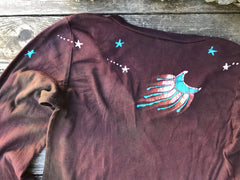 Rust and Turquoise Star Long Sleeve Batik Top