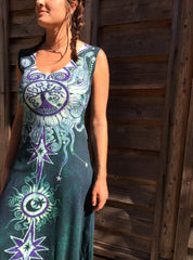 Tribal Tree in Teal and Purple Organic Cotton Batik Dress - Midi Length - Batikwalla   - 3