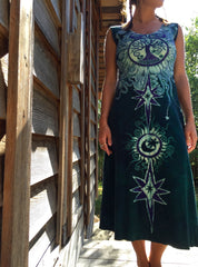 Tribal Tree in Teal and Purple Organic Cotton Batik Dress - Midi Length - Batikwalla   - 2