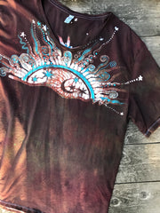 Sedona Sunset Handmade Batik Scoop Neck Tshirt - Size 2X