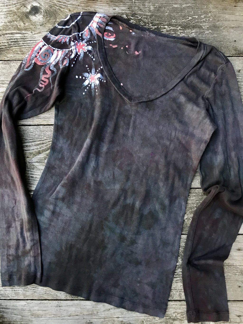 Brave The Storm Handmade Long Sleeve Batik Top - Size 2X