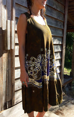 Oak Trees Dancing Organic Cotton Batik Dress - Late Fall - Size Large - Batikwalla   - 4