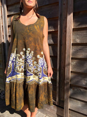 Oak Trees Dancing Organic Cotton Batik Dress - Late Fall - Size Large - Batikwalla   - 2