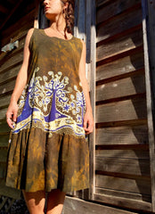 Oak Trees Dancing Organic Cotton Batik Dress - Late Fall - Size Large - Batikwalla   - 9