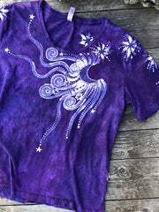 Parade Of Purple Moonbeams Hand Painted Tee - Size Large