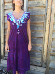 Amethyst and Turquoise Organic Cotton Batik Dress - Batikwalla   - 2