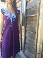 Amethyst and Turquoise Organic Cotton Batik Dress - Batikwalla   - 5