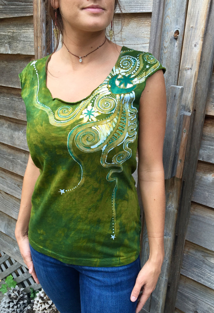Moon Beams In Dancing Green Batik Top - Batikwalla   - 1