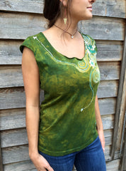 Moon Beams In Dancing Green Batik Top - Batikwalla   - 3