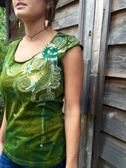 Moon Beams In Dancing Green Batik Top - Batikwalla   - 2