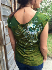Moon Beams In Dancing Green Batik Top - Batikwalla   - 4