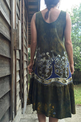Oak Trees Dancing Organic Cotton Batik Dress - Early Fall - Size Large - Batikwalla   - 4