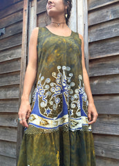 Oak Trees Dancing Organic Cotton Batik Dress - Early Fall - Size Large - Batikwalla   - 3