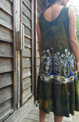 Oak Trees Dancing Organic Cotton Batik Dress - Early Fall - Size Large - Batikwalla   - 2