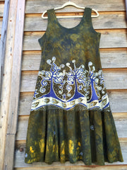 Oak Trees Dancing Organic Cotton Batik Dress - Early Fall - Size Large - Batikwalla   - 5