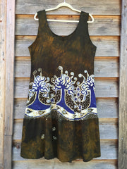 Oak Trees Dancing Organic Cotton Batik Dress - Late Fall - Size Large - Batikwalla   - 7