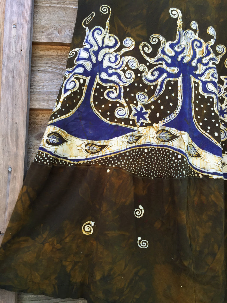Oak Trees Dancing Organic Cotton Batik Dress - Late Fall - Size Large - Batikwalla   - 1
