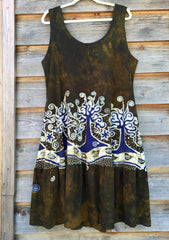 Oak Trees Dancing Organic Cotton Batik Dress - Late Fall - Size Large - Batikwalla   - 8