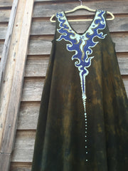 Deep Gold Lava Rock Organic Cotton Batik Dress - Handmade For Susan - Batikwalla   - 3