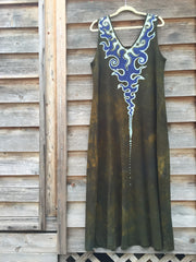 Deep Gold Lava Rock Organic Cotton Batik Dress - Handmade For Susan - Batikwalla   - 4
