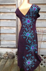 Deep Blue and Purple Organic Cotton Batik Dress - Batikwalla   - 4