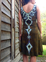 Tribal Gold and Purple Handmade Batik Dress - Size Small - Batikwalla   - 3