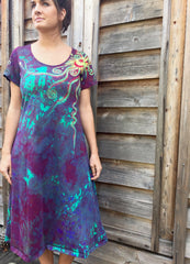 Amethyst Sunrise - Short Sleeve Batik Dress - Size 2X - Batikwalla   - 2