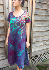 Amethyst Sunrise - Short Sleeve Batik Dress - Size 2X - Batikwalla   - 4
