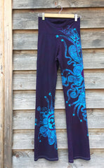 Deep Blue and Purple Batik Yoga Pants - Size Large - Batikwalla   - 8