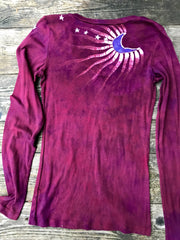 Berry Moon Batik Long Sleeve Vneck Top