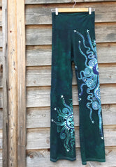 Teal and Purple Om Batik Yoga Pants - Batikwalla   - 2