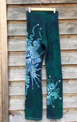 Teal and Purple Om Batik Yoga Pants - Batikwalla   - 3