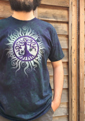 Teal and Purple Tree of Life Organic Tshirt - Batik Print - Batikwalla   - 1