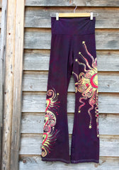 Crazy Hearts Handmade Batik Yoga Pants - Size Medium - Batikwalla   - 4