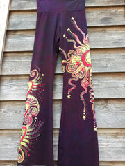 Crazy Hearts Handmade Batik Yoga Pants - Size Medium - Batikwalla   - 2