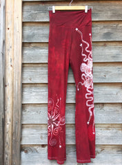 Dark Red Batik Yoga Pants - Size Large - Batikwalla   - 4