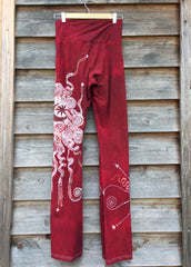 Dark Red Batik Yoga Pants - Size Large - Batikwalla   - 5