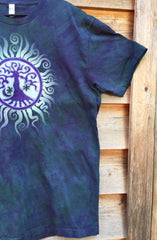 Teal and Purple Tree of Life Organic Tshirt - Batik Print - Batikwalla   - 2